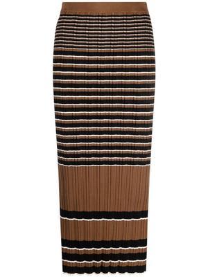 Rib Knit Striped Skirt