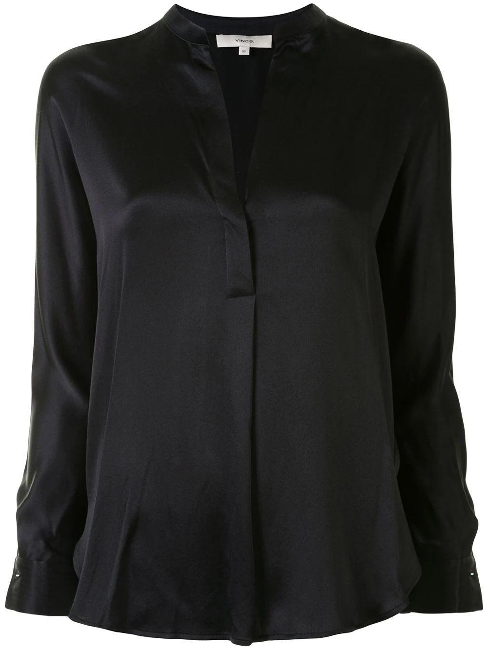 Silk Band Collar Blouse Item # VR84511926