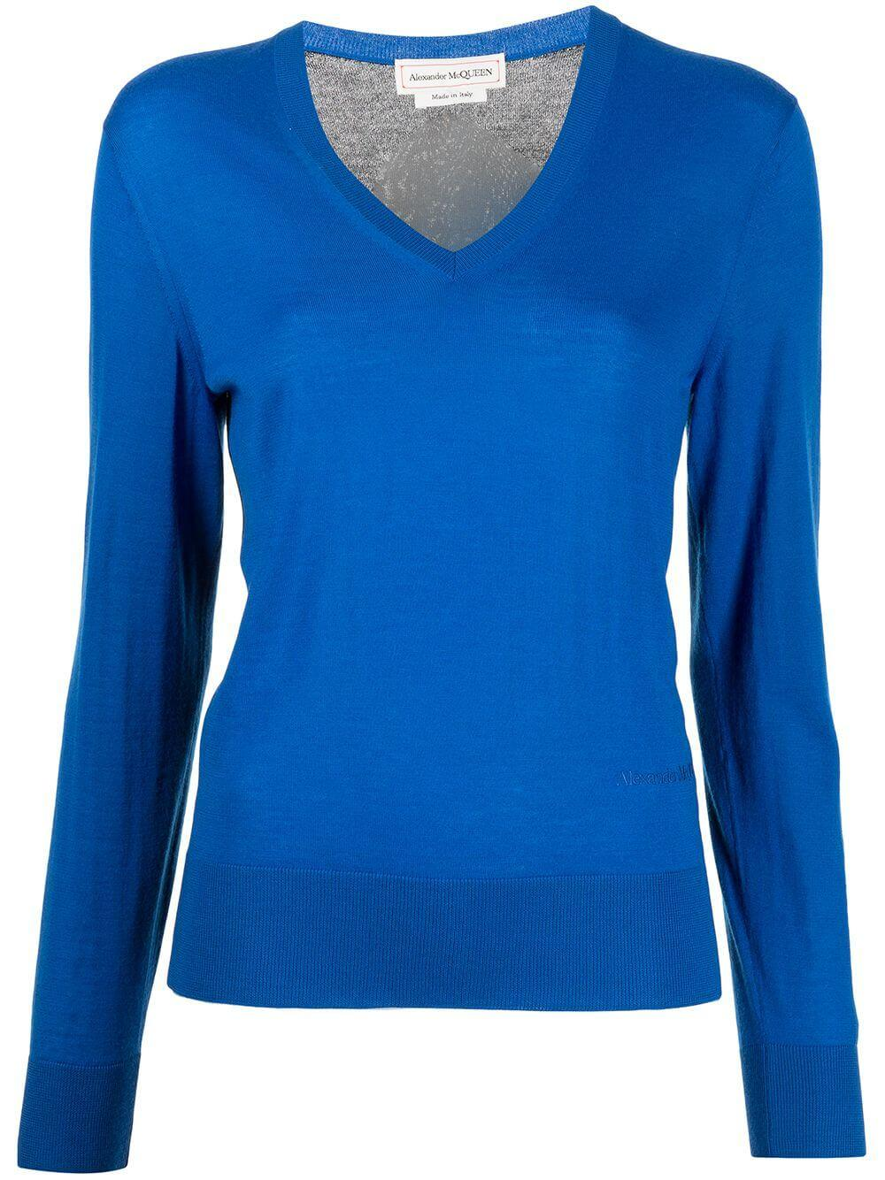 Color Blocked V-neck Sweater