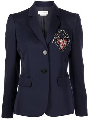 Two Button Embroidered Blazer