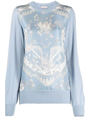 Silk Front Printed Sweater