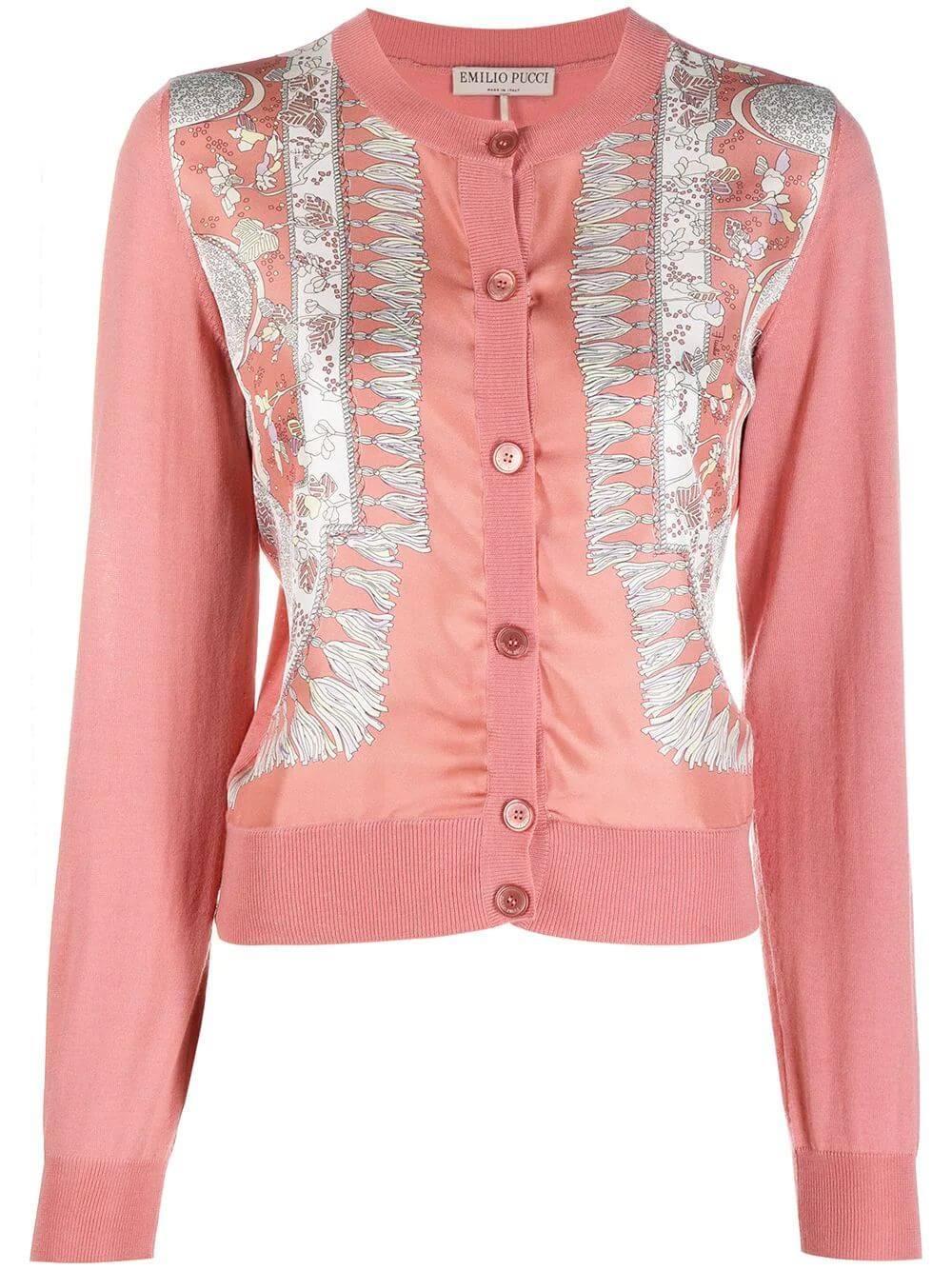 Silk Front Printed Cardigan Item # 1RKQ01-1R962