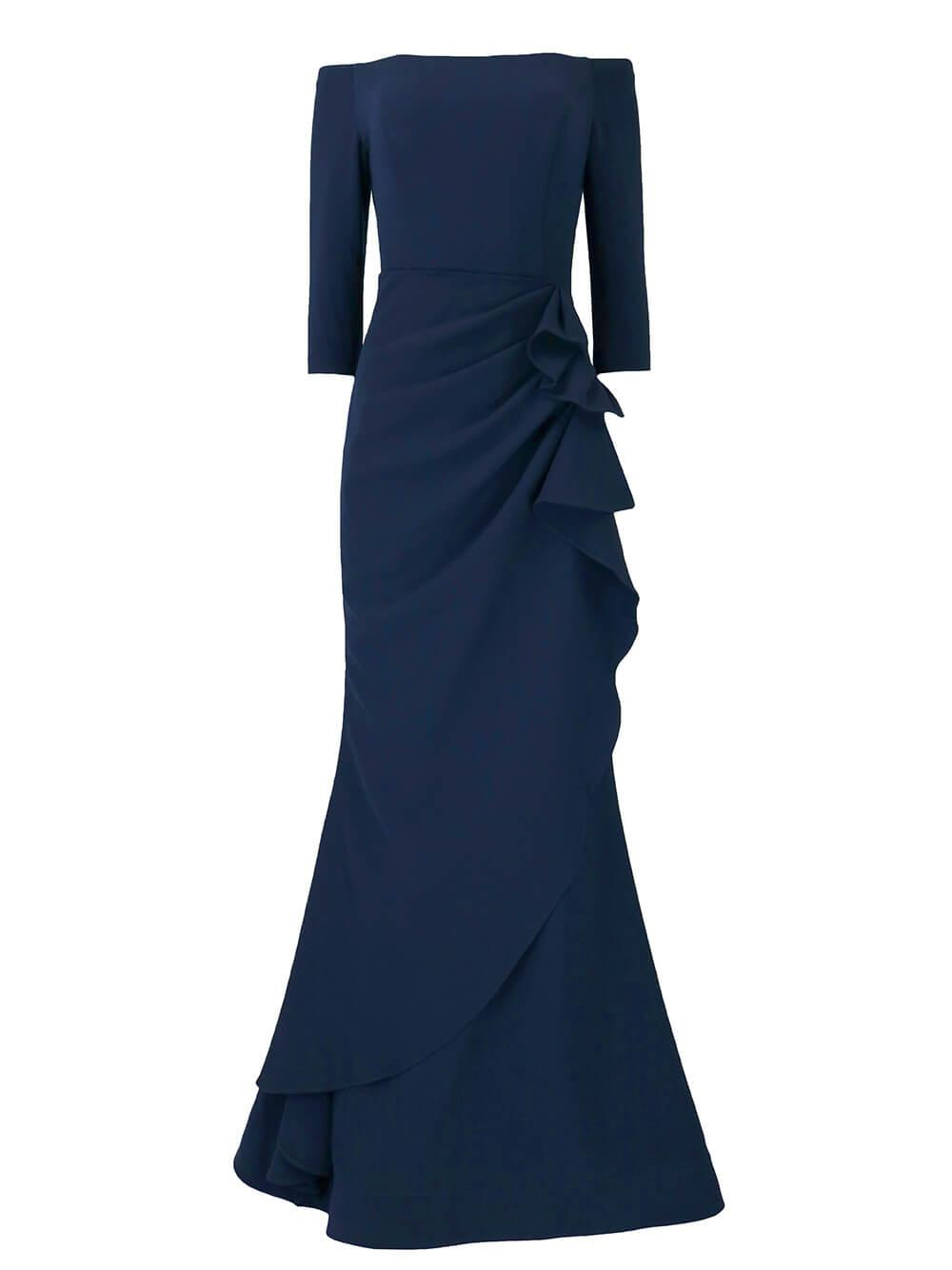Off The Shoulder Ruched Gown Item # 00446-PF21