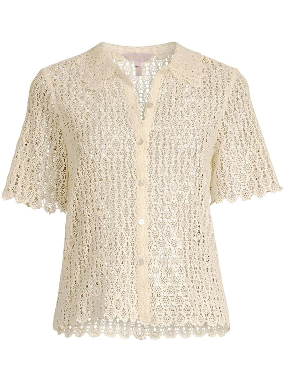 Pina Embroidery Cropped Shirt Item # 421155B765