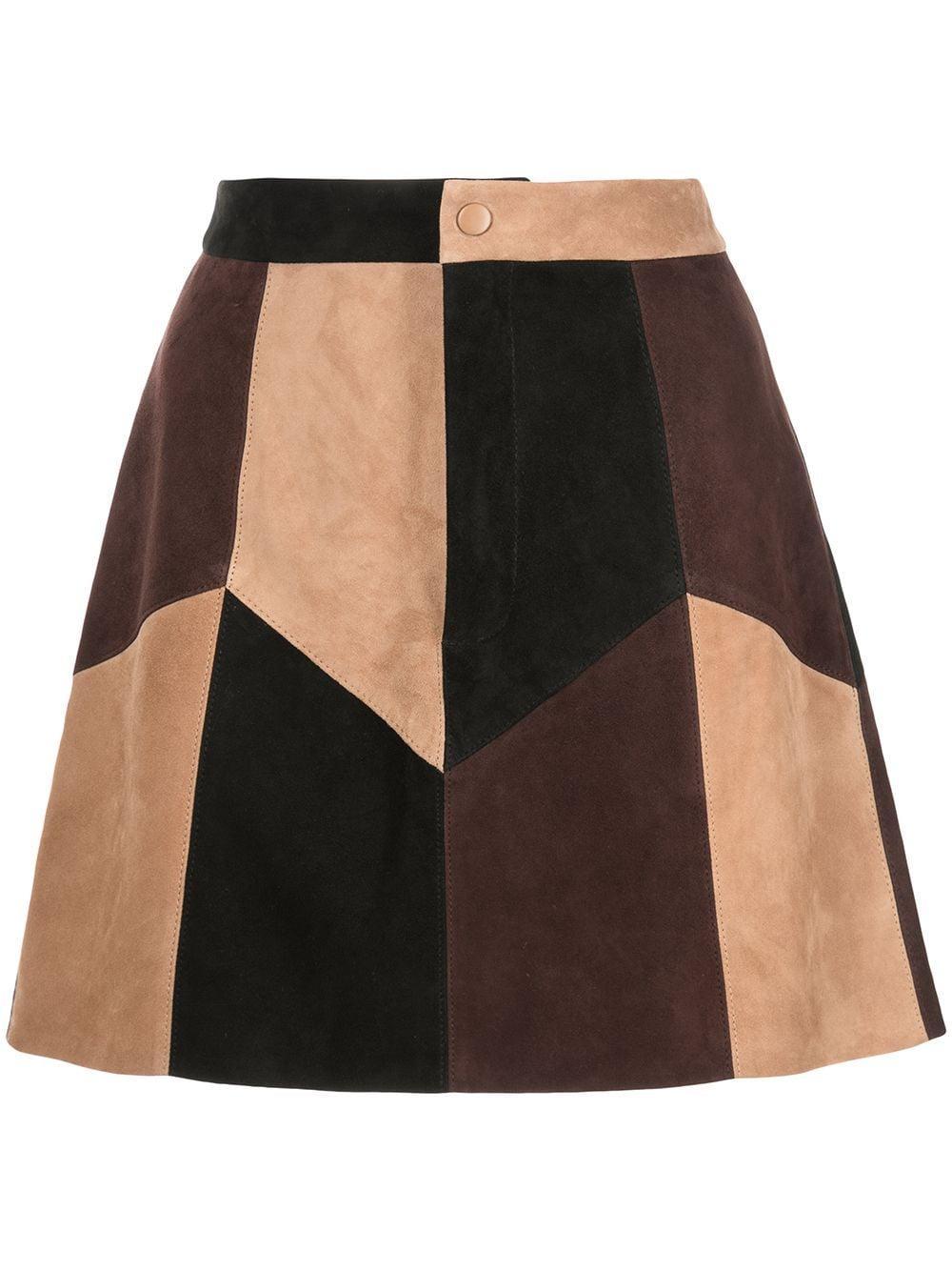 Georgine Suede Patchwork Mini Skirt