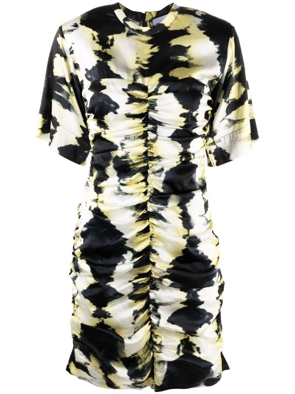 Printed Ruched Silk Satin Dress