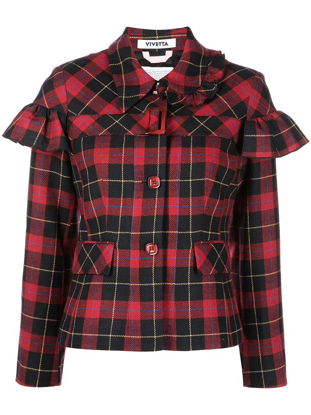 Ruffle Detail Tartan Jacket Item # L021-3015-QC91