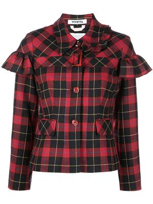 Ruffle Detail Tartan Jacket