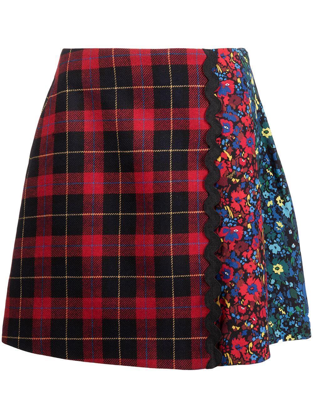 Mini Tartan Floral Skirt Item # C021-3015-QC91