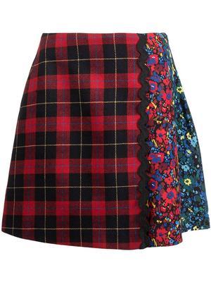 Mini Tartan Floral Skirt