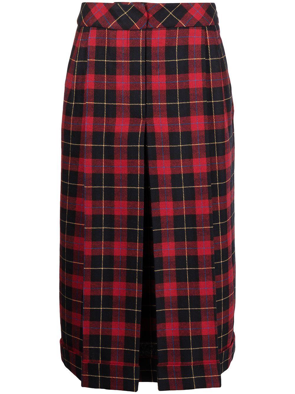 Tartan Plaid Midi Skirt Item # C011-3015-QC91