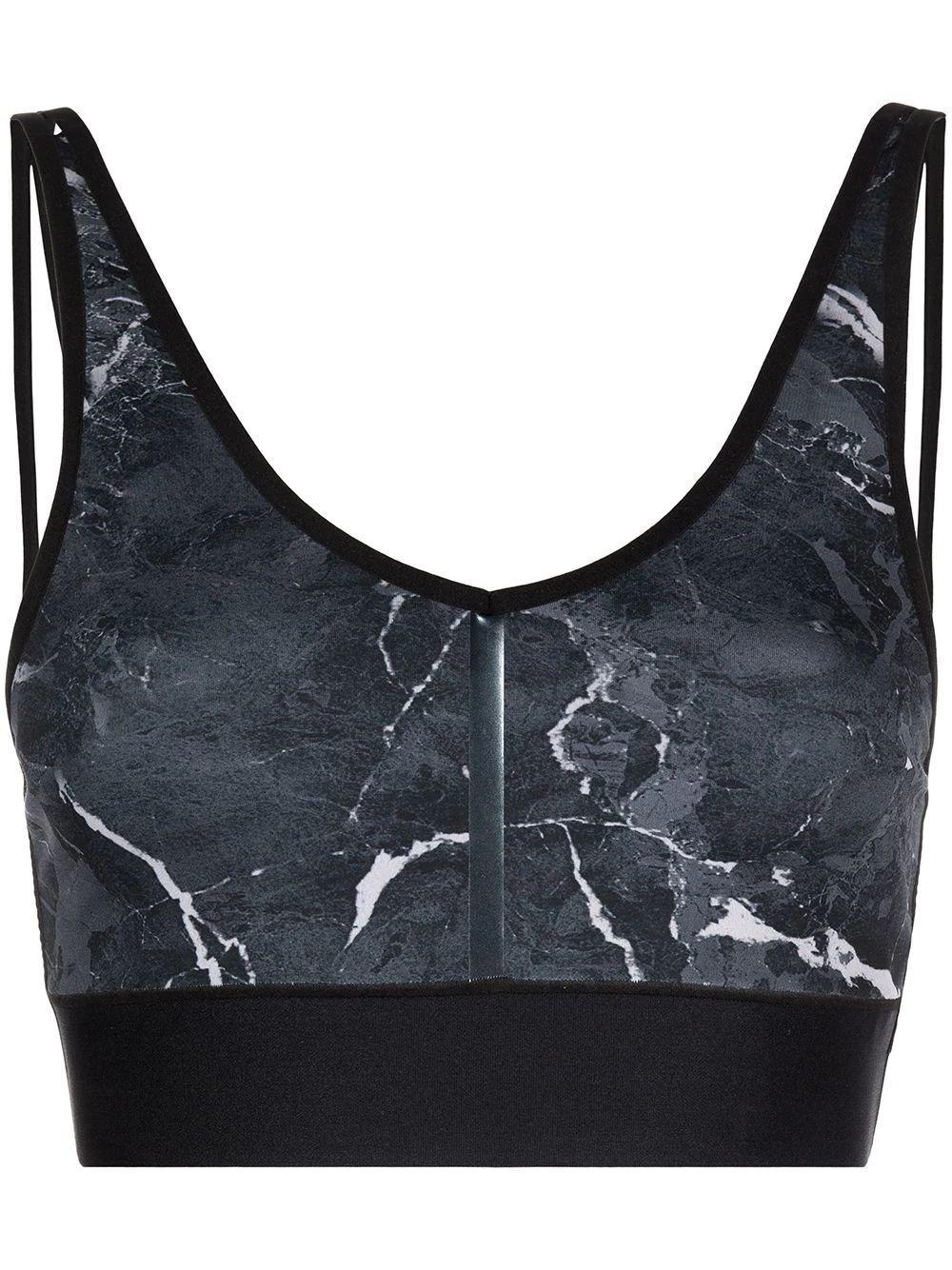 Granite Print V-neck Sports Bra