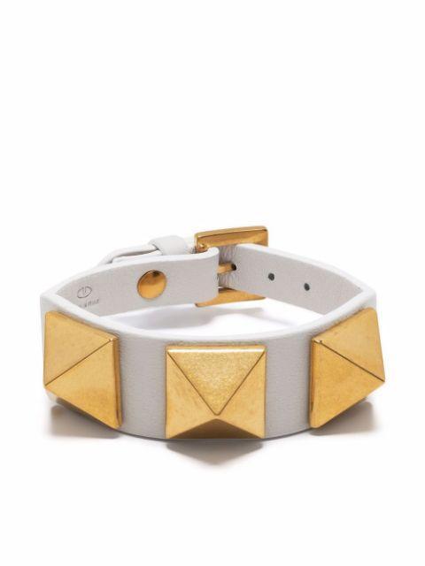 Rockstud Leather Bracelet Item # WW2J0P07GZN