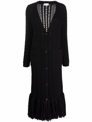 Long Cable Knit Cardigan with Fringe