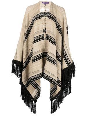 Ruana Sweater Blanket Striped Poncho