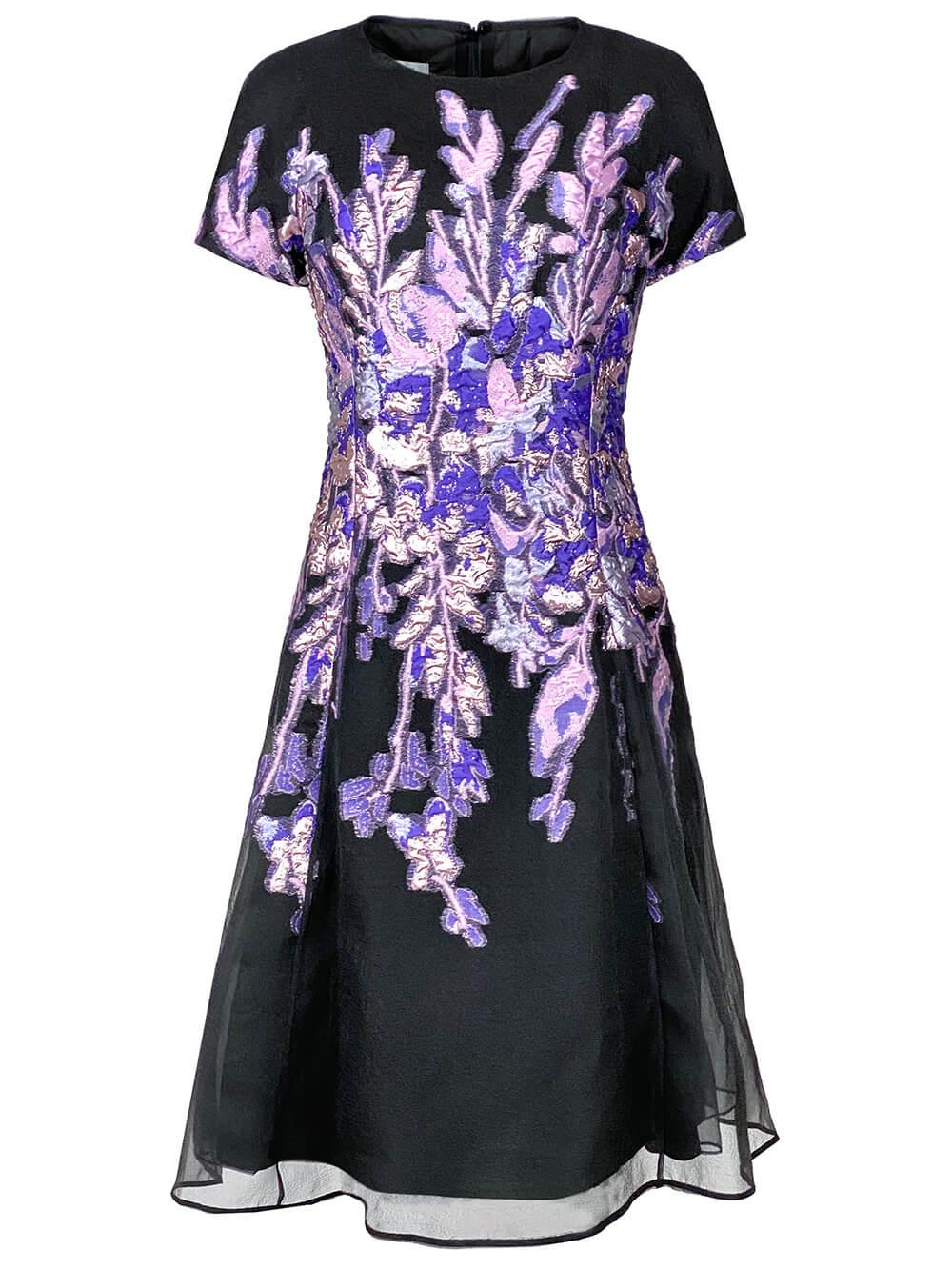 Floral Jacquard Fit And Flare Dress Item # 217223