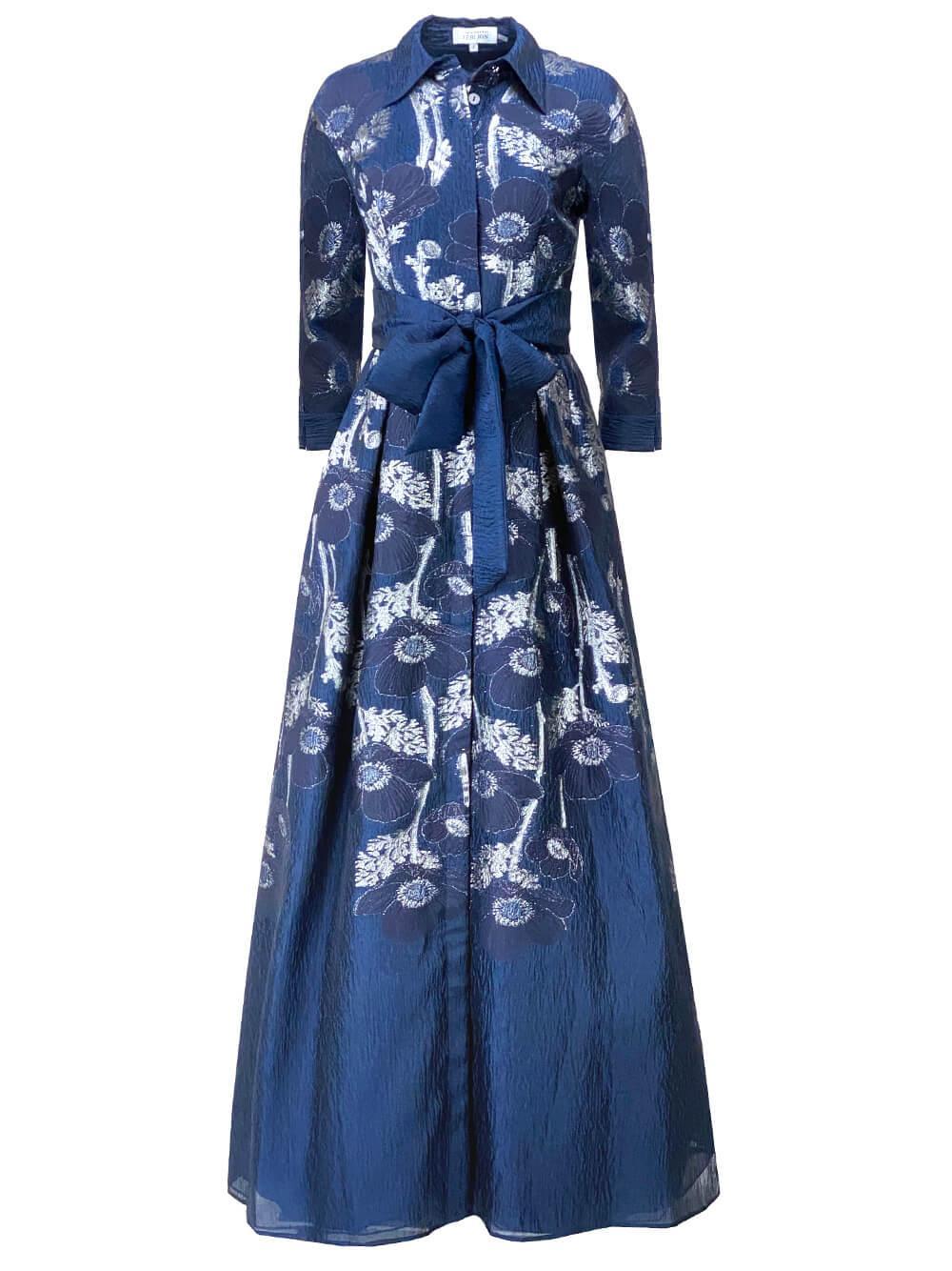 Metallic Jacquard Shirt Dress Gown Item # 217022