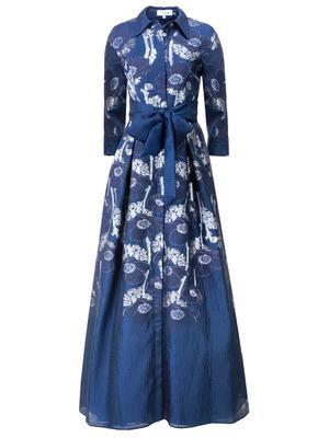 Metallic Jacquard Shirt Dress Gown