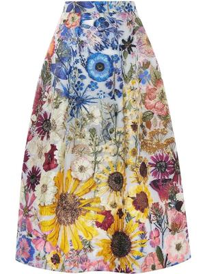Floral Fil Coupe A-Line Skirt