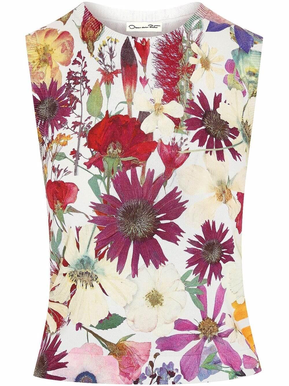 Pressed Flower Knit Tank Item # 21FN124RBP