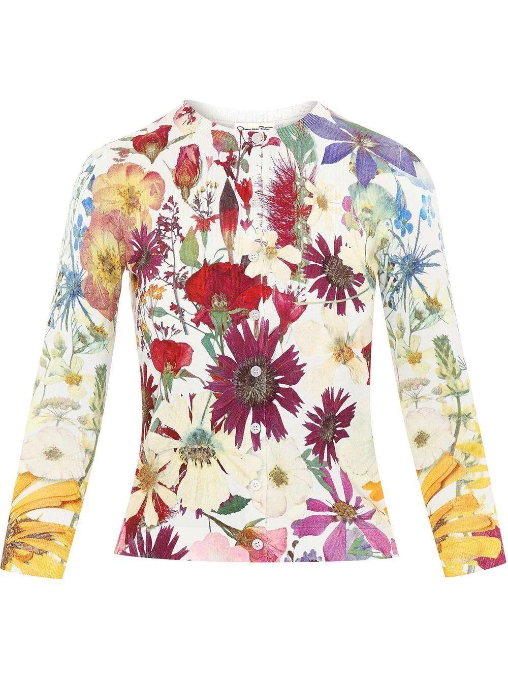 Pressed Flower Cardigan Item # 21FN125RBP