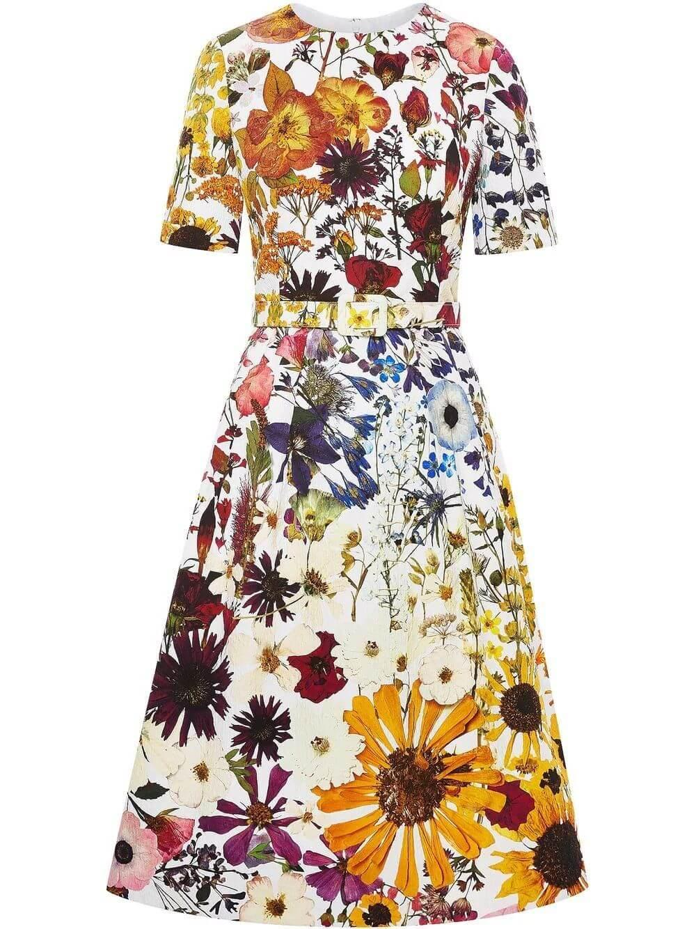 Floral Cotton Cloque Dress Item # 21FN255OPQ