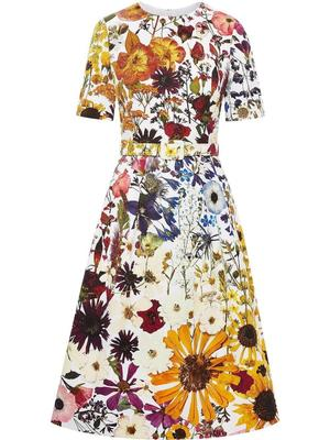 Floral Cotton Cloque Dress