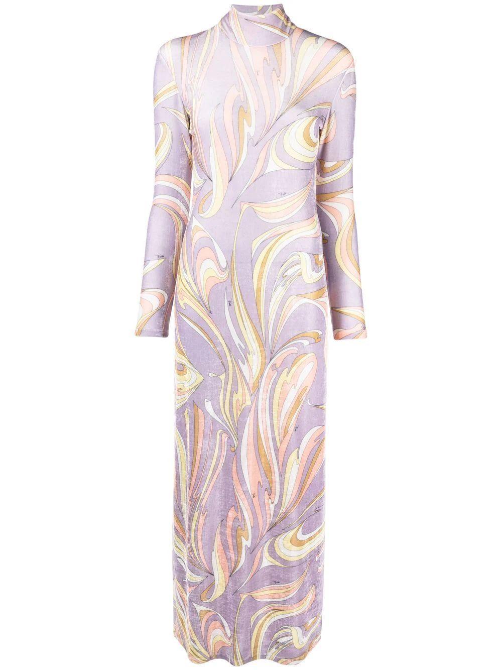Printed Long Sleeve Maxi Dress Item # 1RJI35-1R846