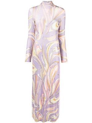 Printed Long Sleeve Maxi Dress