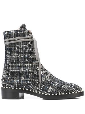 Sondra Tweed Lace Up Boots