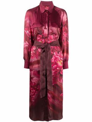 Floral Printed Midi Shirt Dress