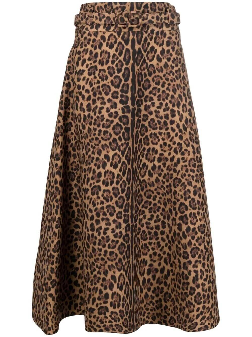 Leopard Print Midi Skirt Item # WB3RA8306NA