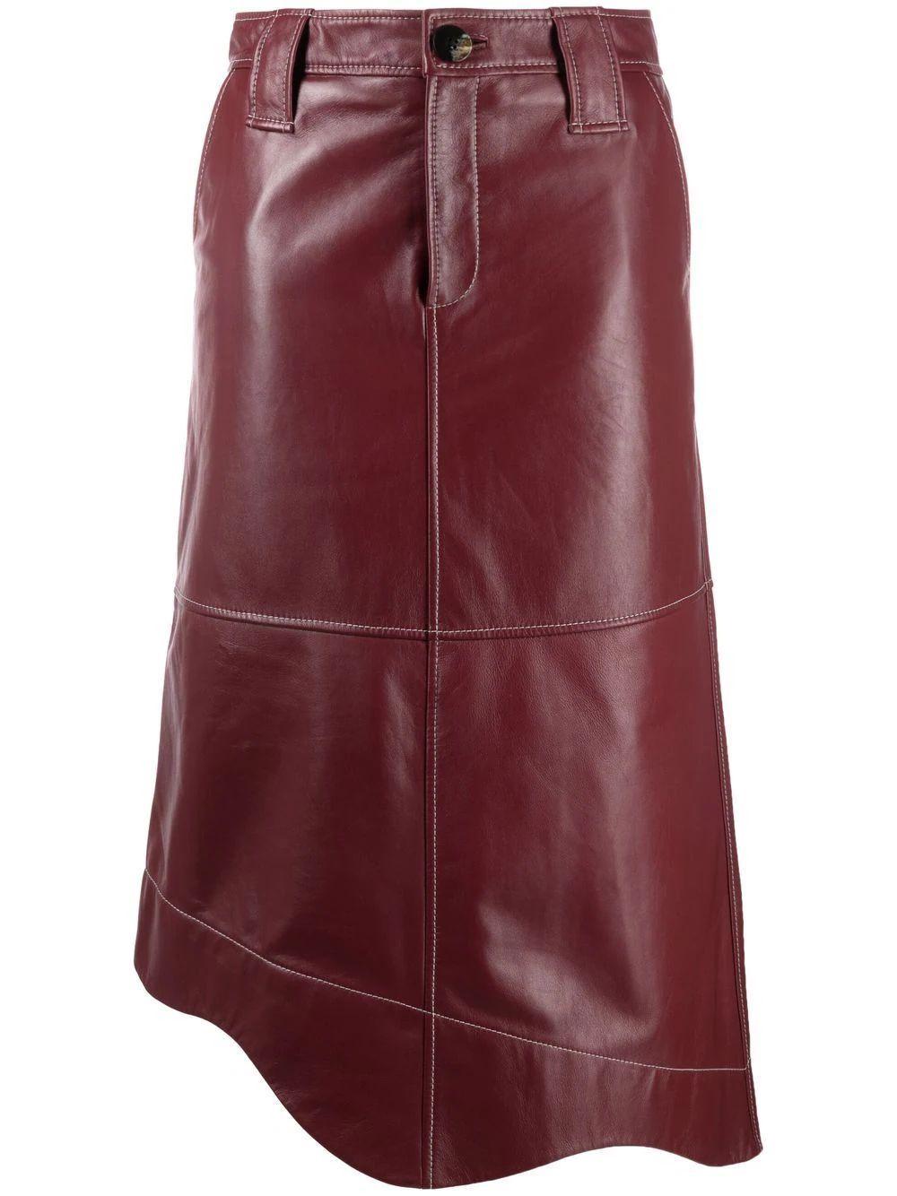 Scalloped Asymmetrical Hem Leather Skirt Item # F6326