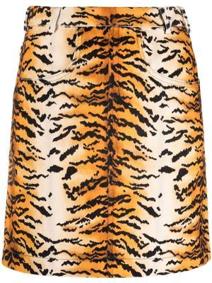 Tiger Print Velvet Mini Skirt