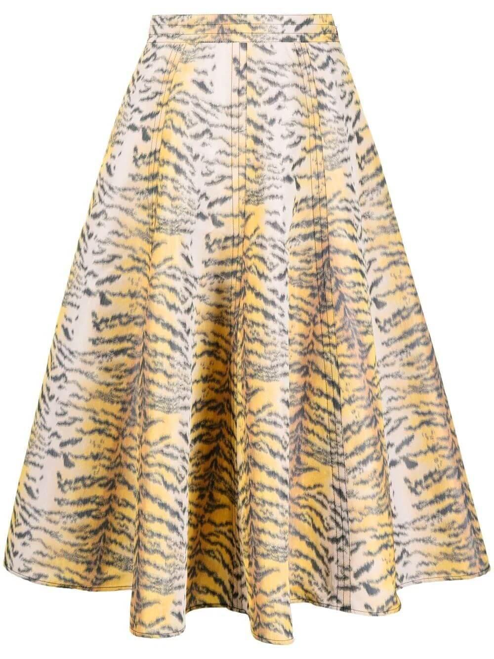 Tiger Print Taffeta Midi Skirt