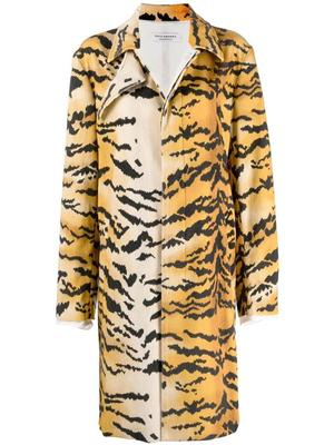 Tiger Print Velvet Midi Coat
