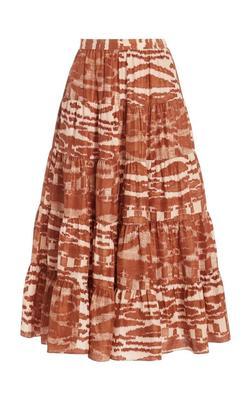 Aisa Tiered Printed Midi Skirt