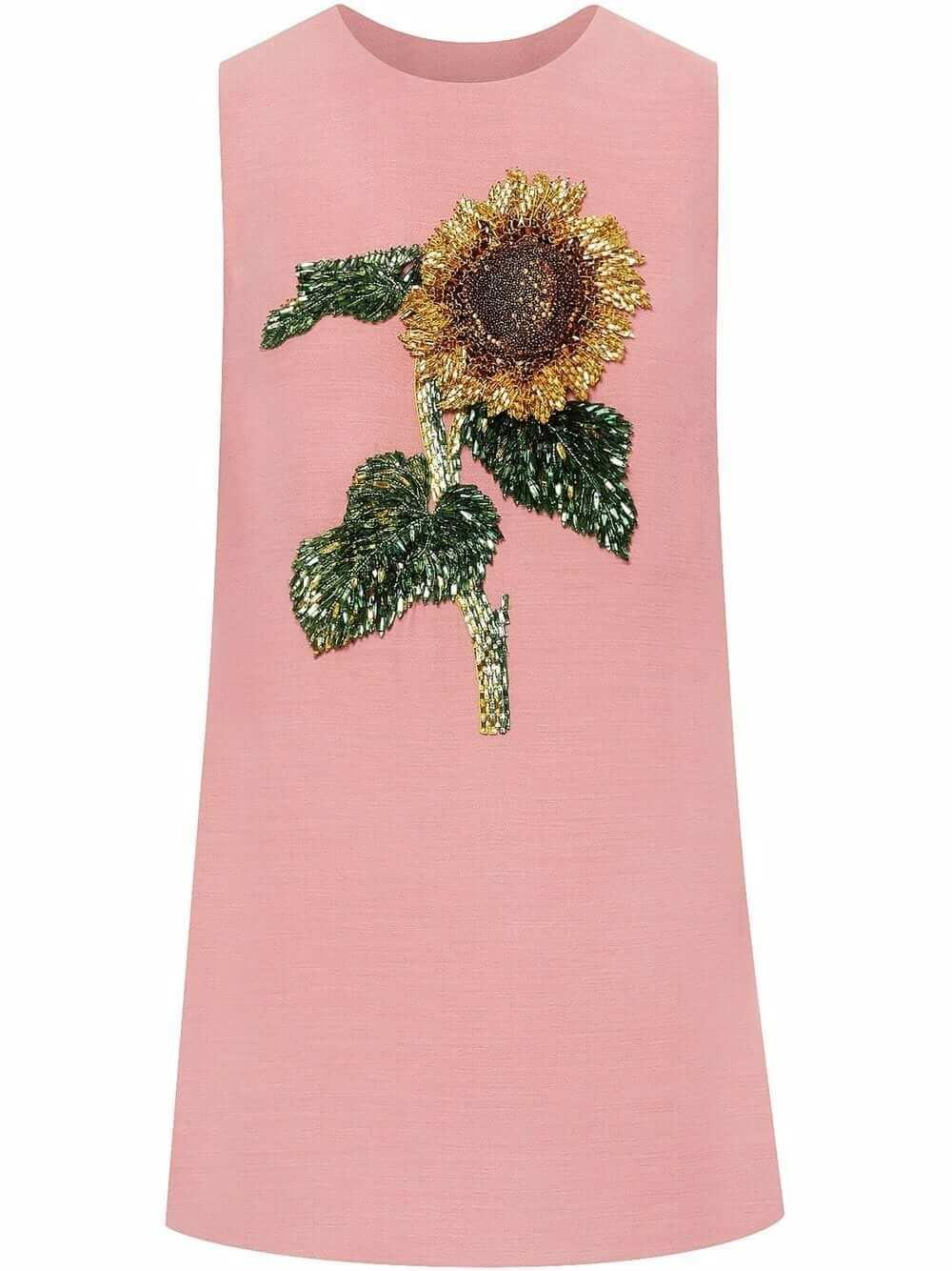 Sunflower Embroidered Shift Dress