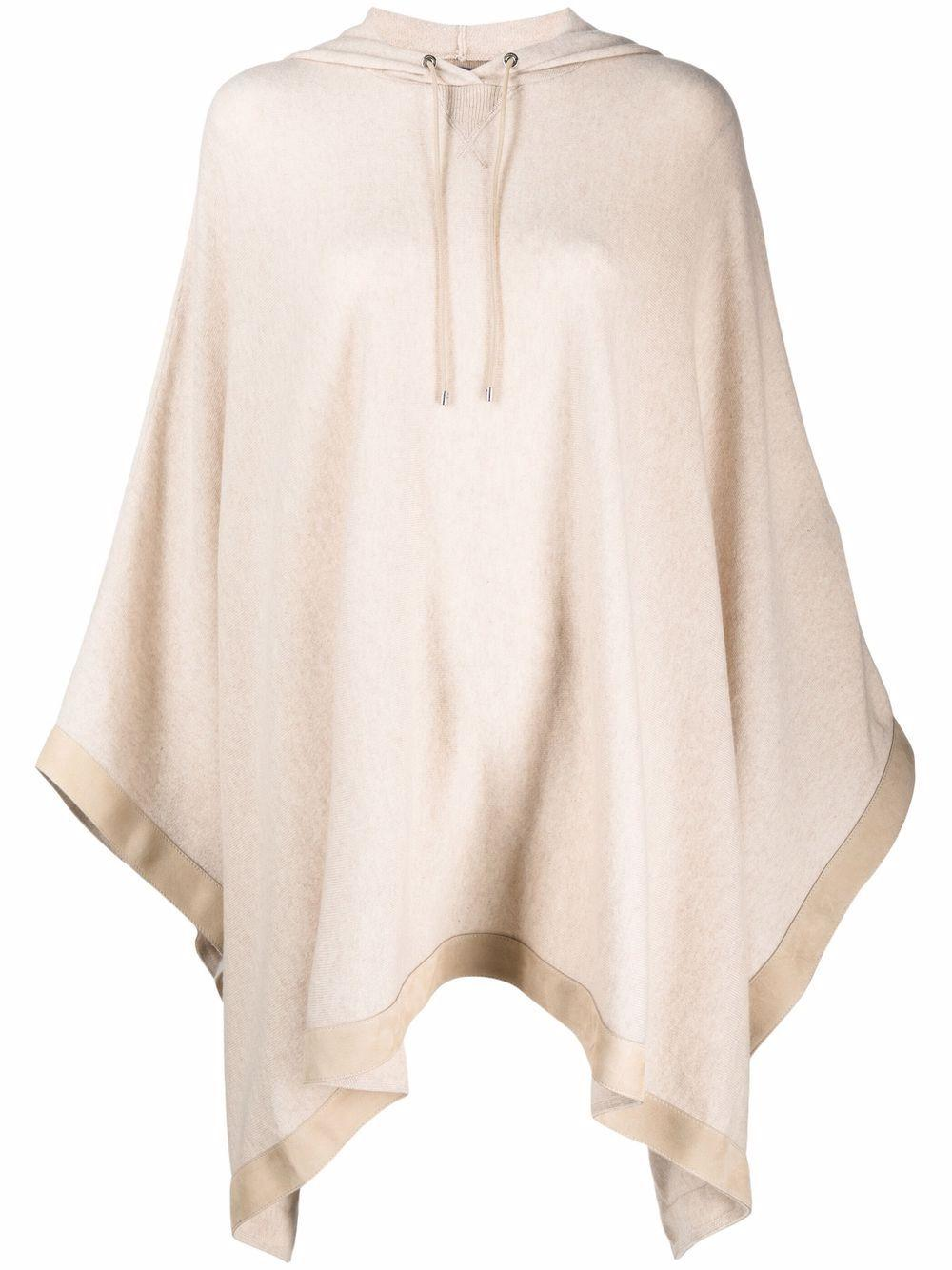 Hooded Poncho With Suede Trim Item # 290845673001