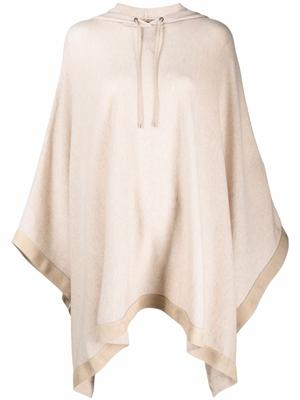 Hooded Poncho With Suede Trim