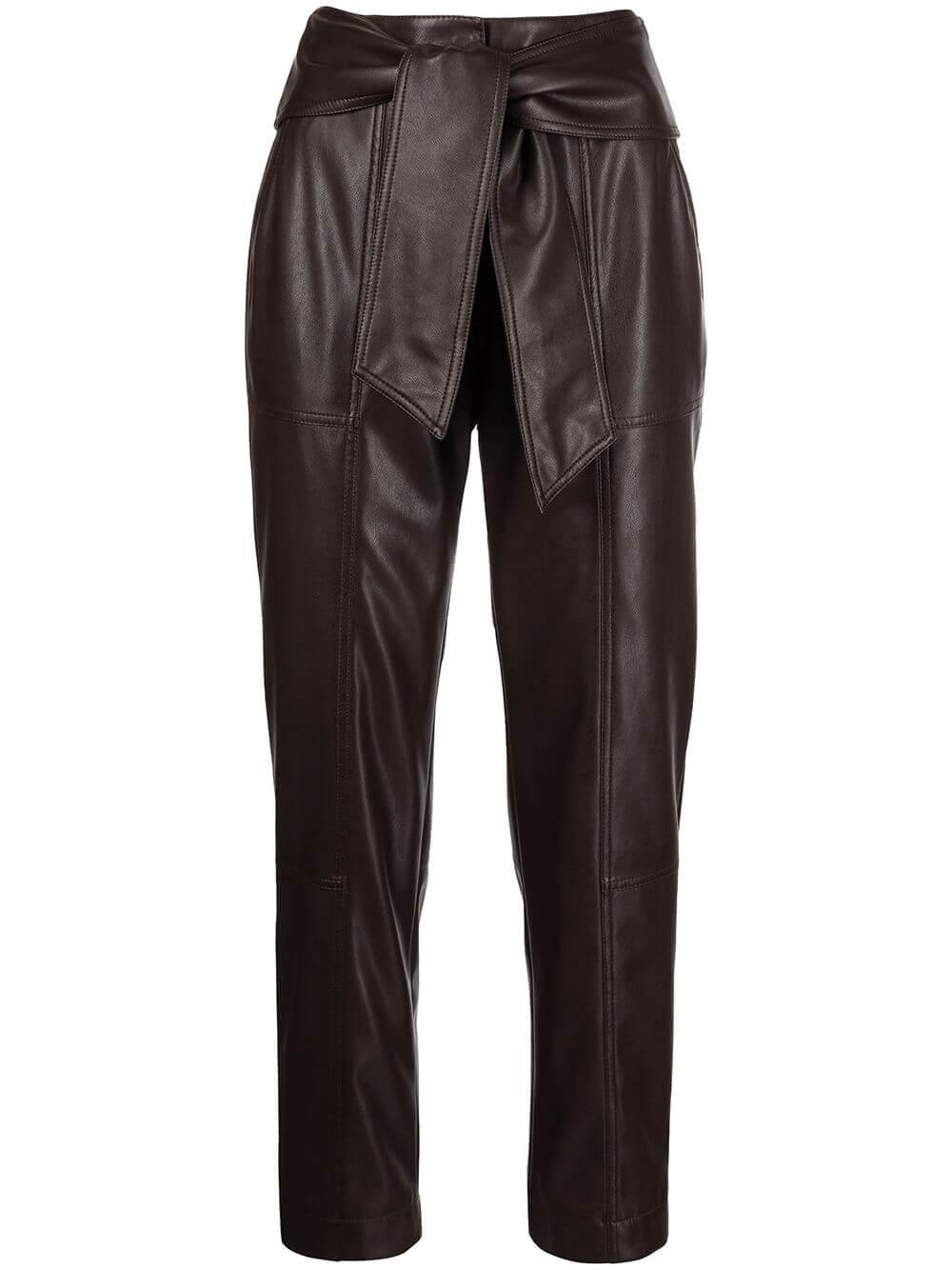 Tessa Vegan Leather Tie Waist Pants Item # 521-4046-L