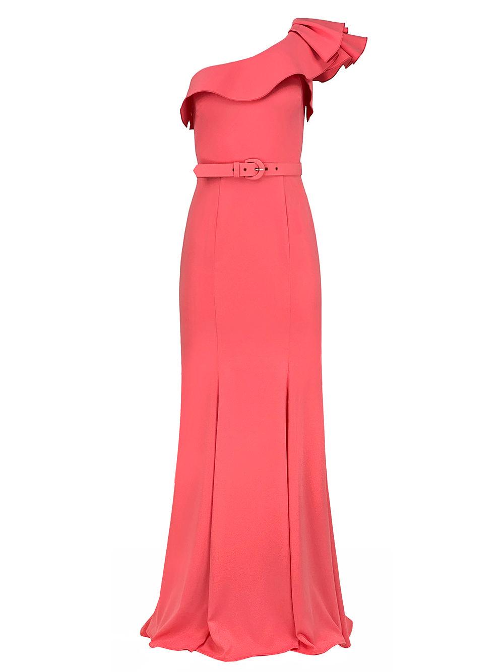 One Shoulder Belted Gown Item # 7115