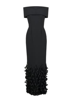 Spiral Hem Off the Shoulder Gown
