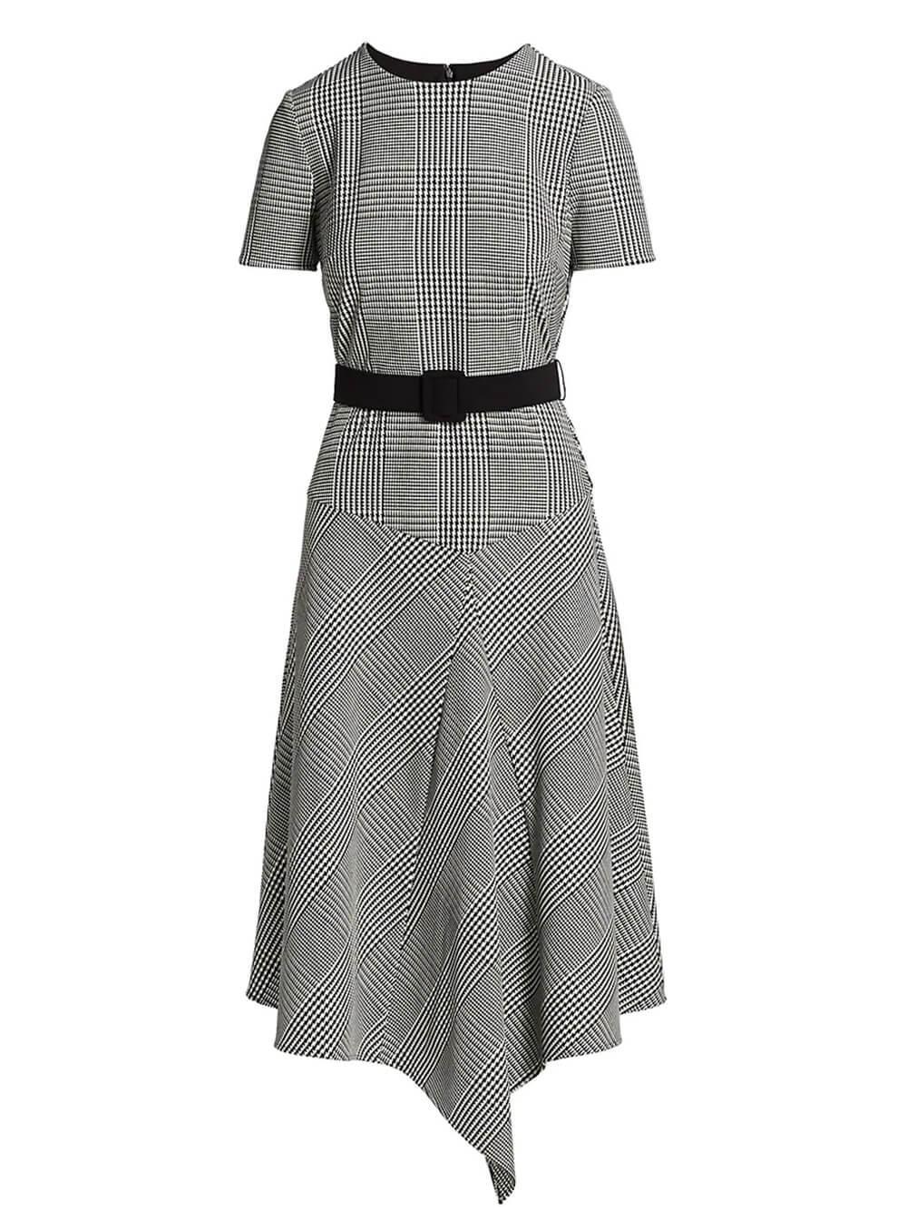 Glenn Plaid Asymmetrical Dress Item # BSD4653