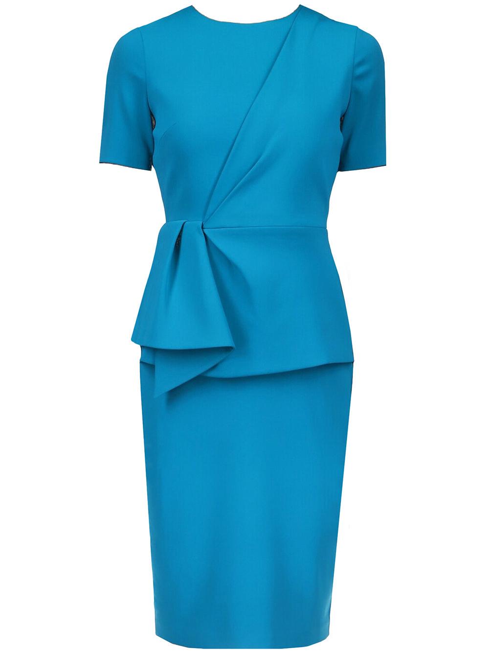 Drape Front Peplum Day Dress Item # BSD4678