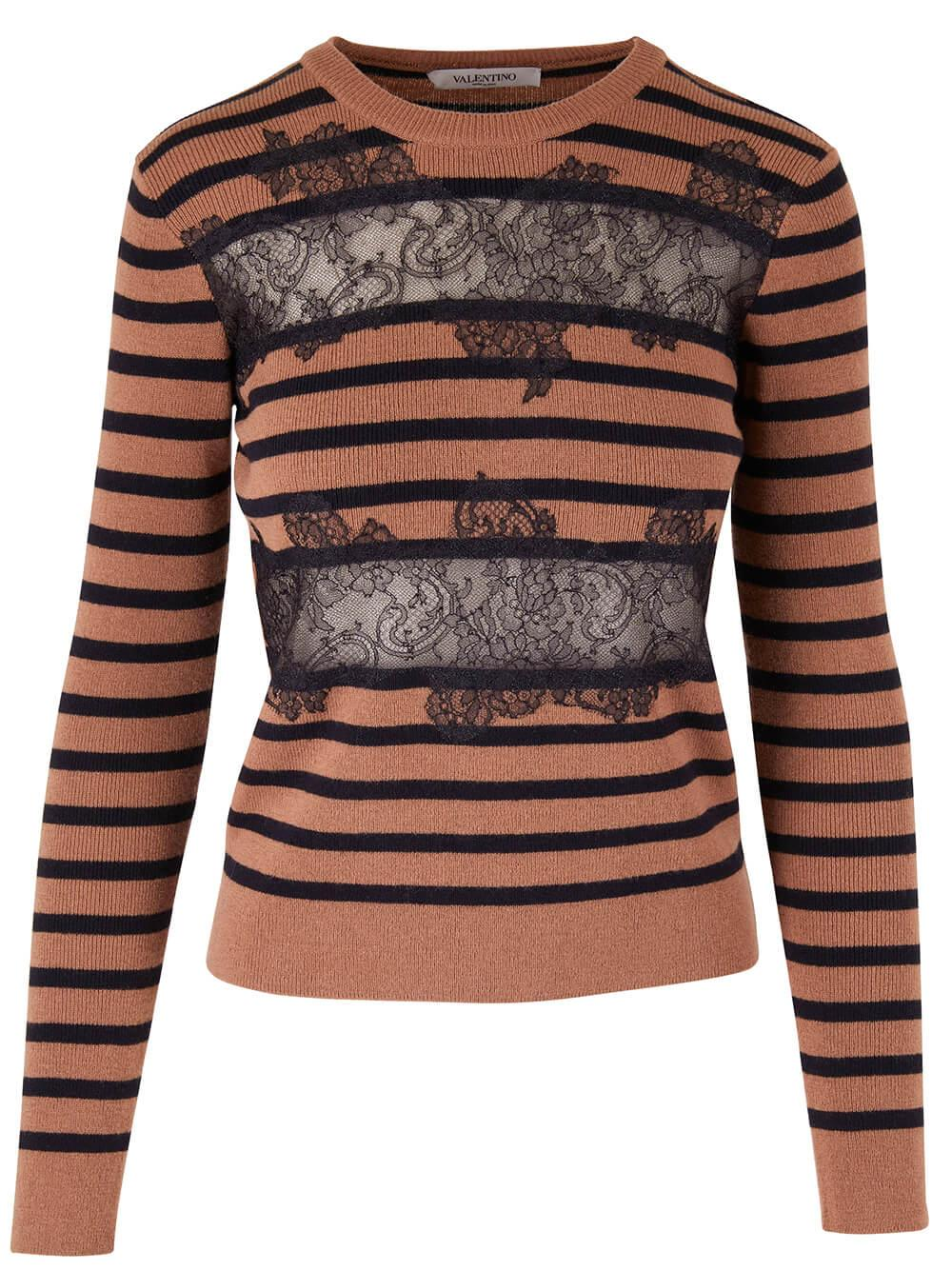 Striped Sweater With Lace Applique Item # WB3KC24V6M7