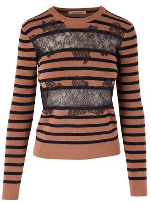 Striped Sweater With Lace Applique