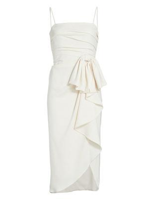 Draped Wrap Midi Dress