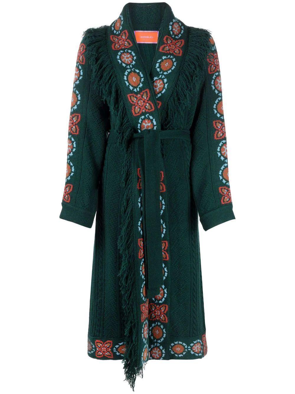 Intarsia- Knit Long Cardigan Item # JAC0032-KNI038