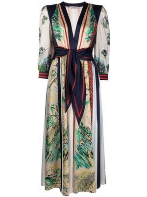 Scarf Print Belted Midi Dress